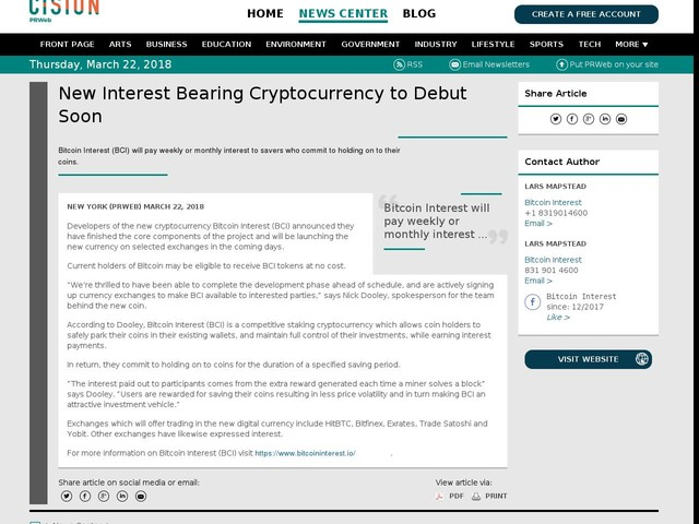 New Interest Bearing Cryptocurrency to Debut Soon