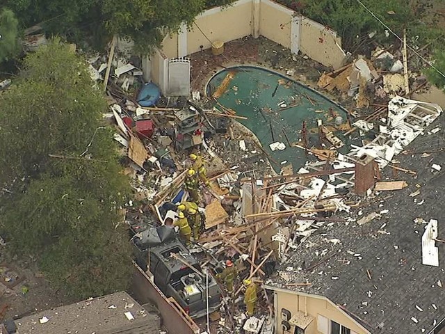 Explosion partially destroys home in Canoga Park, leaves massive debris field