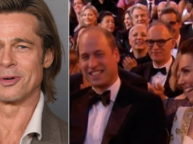 Prince William and Kate Middleton laughed at Brad Pitt's awkward BAFTA joke about Prince Harry leaving the UK
