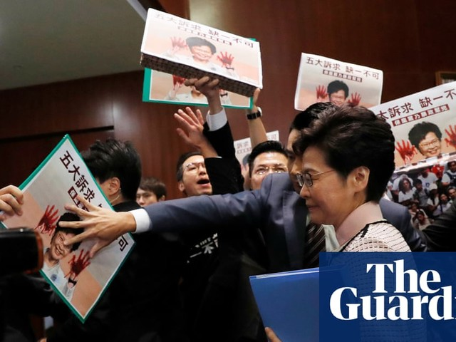 Hong Kong leader forced to deliver key speech via video after protests