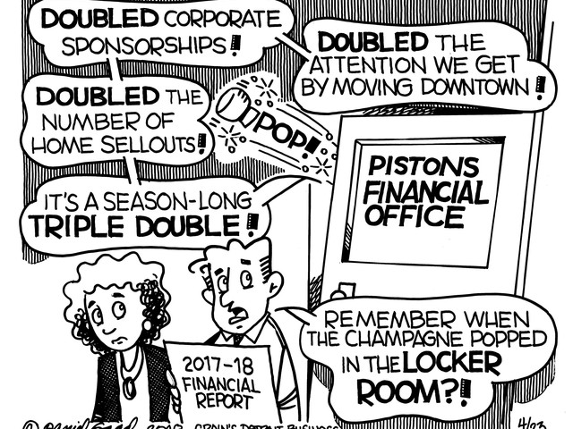 More celebration in Pistons financial office than the locker room: A <i>Crain's</i> editorial cartoon
