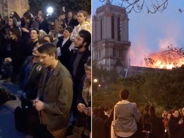 Bystanders sing 'Ave Maria' as Notre Dame cathedral burns: video