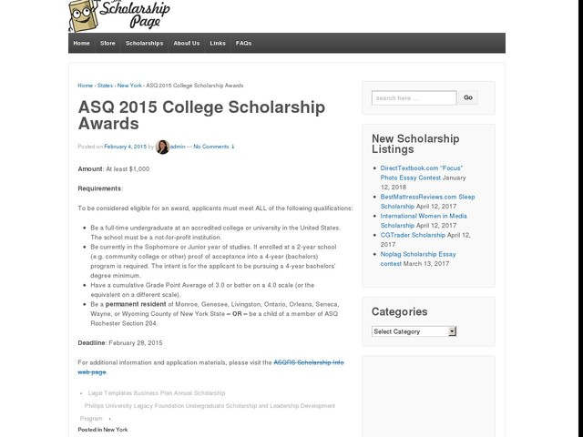 ASQ 2015 College Scholarship Awards
