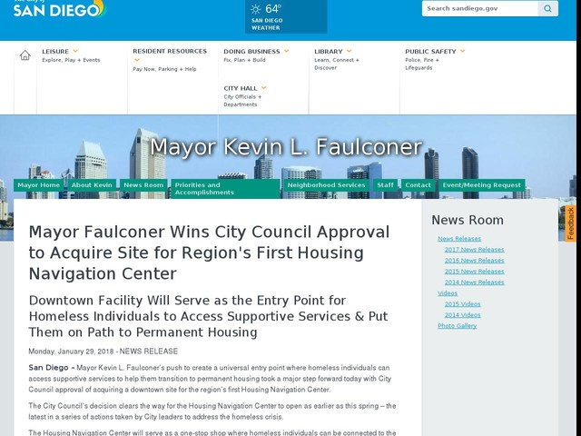 Mayor Faulconer Wins City Council Approval to Acquire Site for Region's First Housing Navigation Center