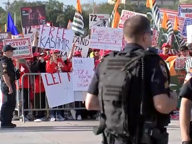 Thousands gather at NRG Park to protest Modi-Trump rally