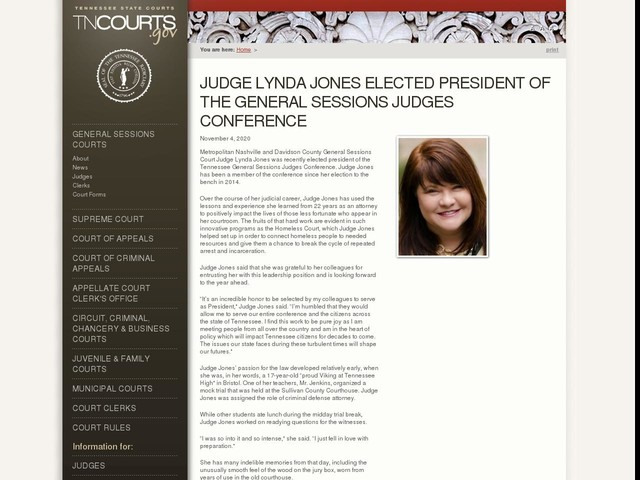 Judge Lynda Jones Elected President of the General Sessions Judges Conference
