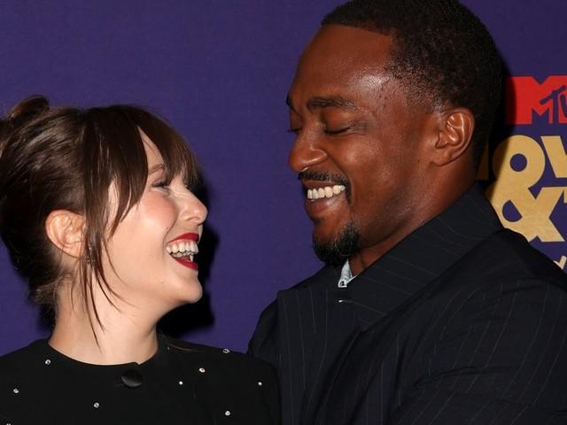 Avengers, Assemble: Anthony Mackie and Elizabeth Olsen Hug It Out at the MTV Awards