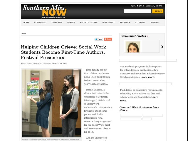 Helping Children Grieve: Social Work Students Become First-Time Authors, Festival Presenters