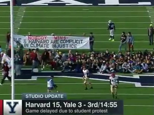 Video: Police forcibly remove climate change protestors who stormed the field during Harvard-Yale football game