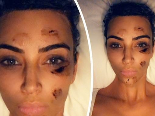 Kim Kardashian jokes around after applying brown ointment to her skin