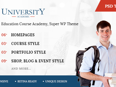University - Education Course Academy PSD Templates (Corporate)