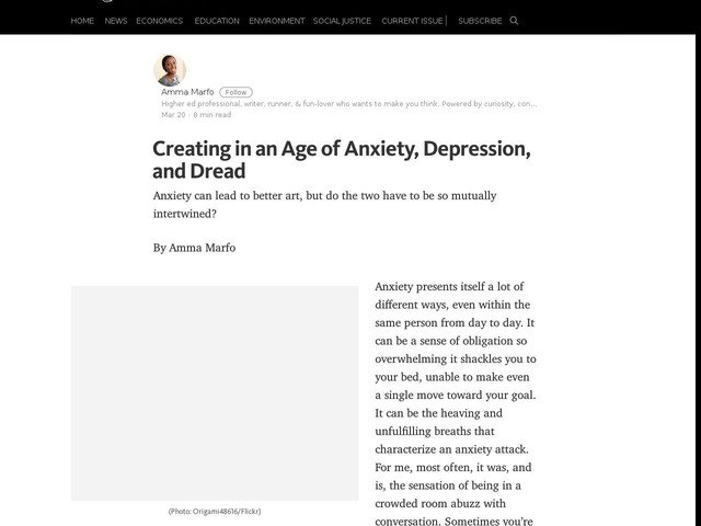Creating in an Age of Anxiety, Depression, and Dread