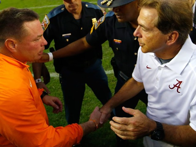 WELP, Alabama's favored by 34 against Tennessee, the biggest spread in series history