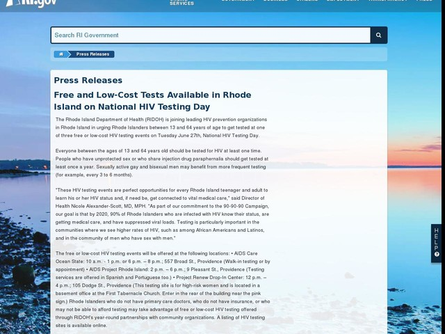 Free and Low-Cost Tests Available in Rhode Island on National HIV Testing Day