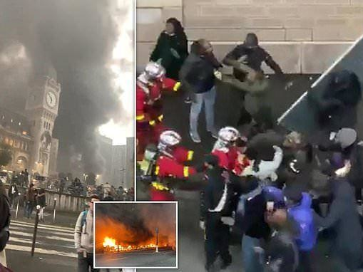Massive Fire Breaks Out After Immigrant Protest Near Central Paris Train Station
