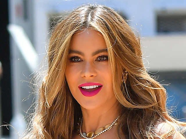 Sofia Vergara Goes Bold in a Leopard Print Dress With Towering Platform Wedges