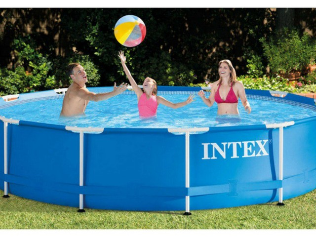 "Intex 12′ x 30"" Metal Frame Above Ground Swimming Pool with Filter Pump $69.99 Shipped (reg.$129)"