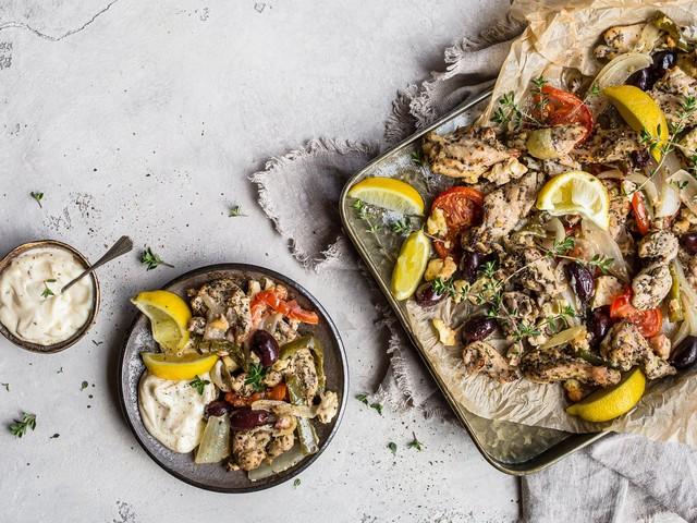 Greek sheet-pan meal with garlic sauce
