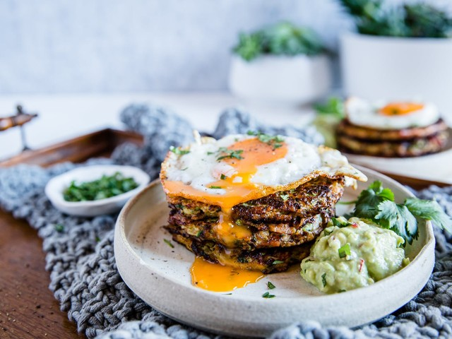 Zucchini bacon fritters with avocado mayo and crispy egg
