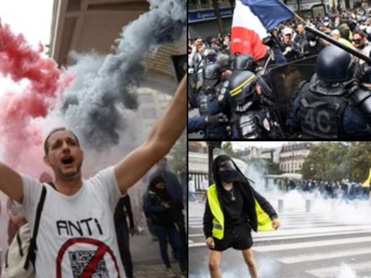 """Protesters Rage In Paris Against """"Health Passports"""""""