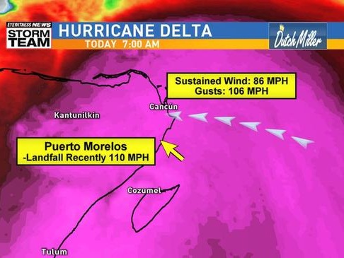 Menacing Hurricane Delta Makes Landfall On Yucatan; Re-Intensification Likely Over Gulf Of Mexico