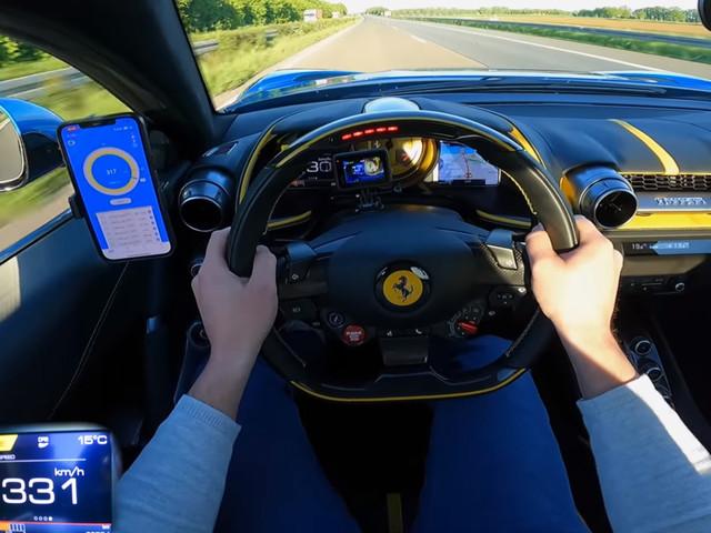 Ferrari 812 Superfast Hits 205 MPH During Autobahn Sprint