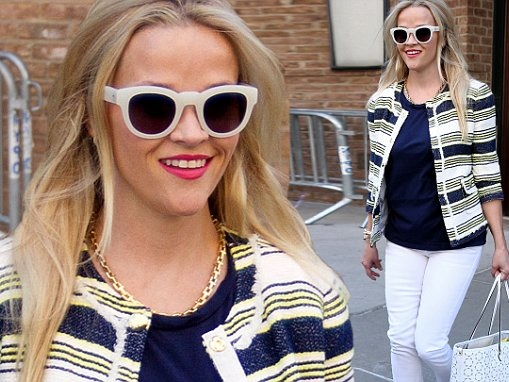 Reese Witherspoon looks chic in an outfit from her Draper James line as she steps out in New York