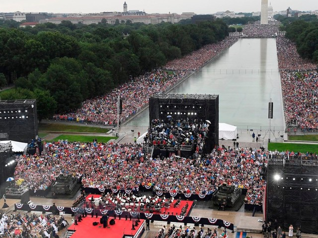 Trump's 'Salute to America' Fourth of July event drew supporters and protesters, despite pouring rain