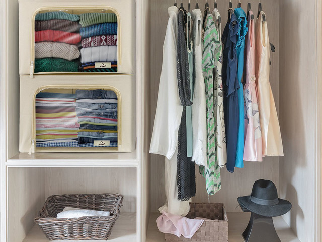 Household organizing products including a hanging handbag organizer & clear storage