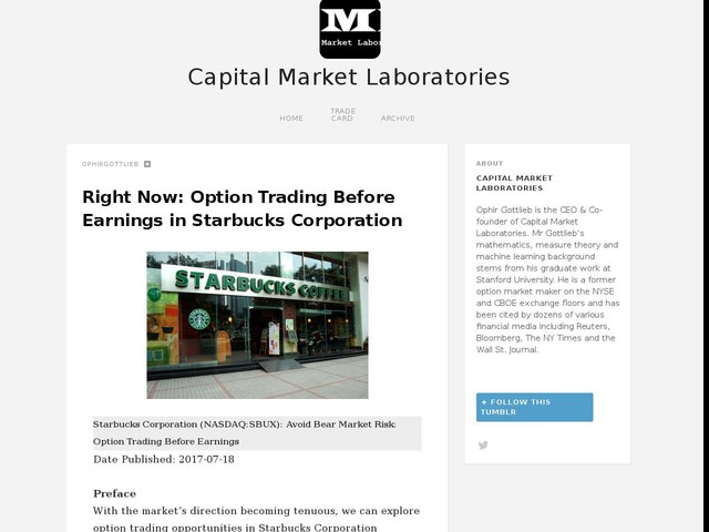 Right Now: Option Trading Before Earnings in Starbucks Corporation