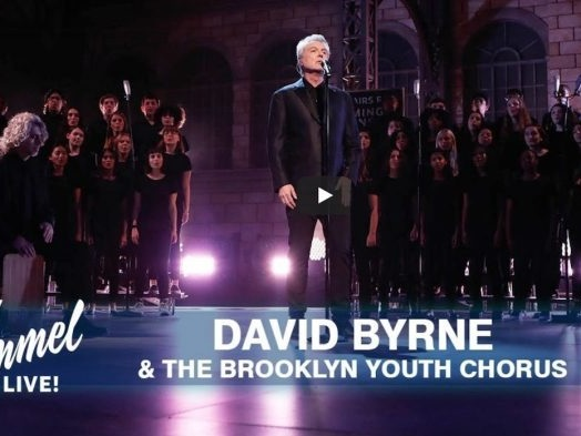 Watch David Byrne Perform 'One Fine Day' With Brooklyn Youth Chorus on 'Jimmy Kimmel Live'