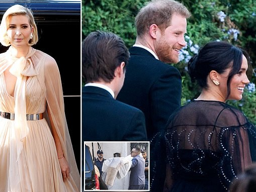 Meghan Markle and Prince Harry arrive at Misha Nonoo's sunset Rome wedding