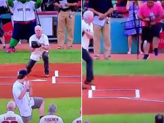 Red Sox cameraman takes first pitch right in the junk