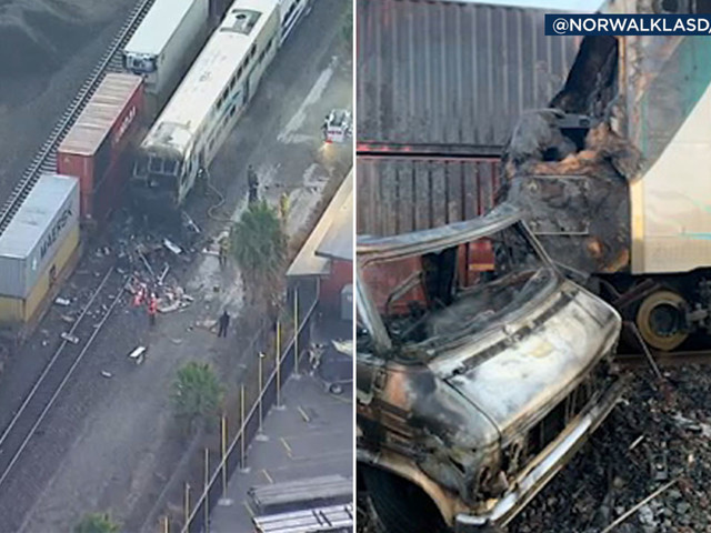 Flames engulf Metrolink train after crash on tracks in Santa Fe Springs; 4 injured, significant train delays expected