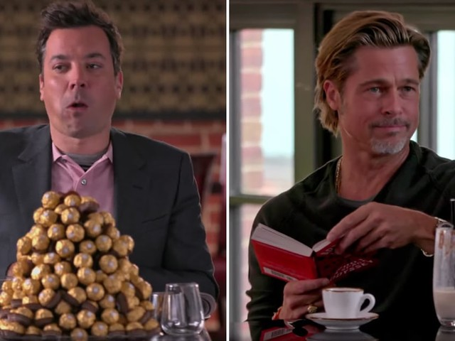 Brad Pitt and Jimmy Fallon Get Into a War Over Extravagant Food Surprises at a Restaurant