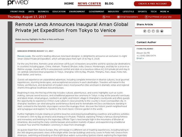 Remote Lands Announces Inaugural Aman Global Private Jet Expedition...