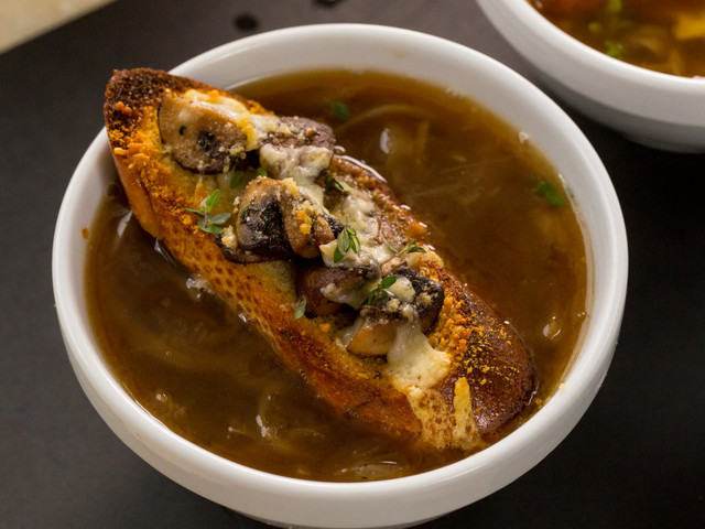 French onion soup topped with cheesy mushroom toast is the ultimate cold weather food