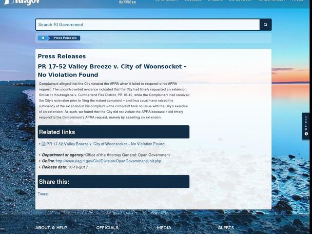 PR 17-52 Valley Breeze v. City of Woonsocket – No Violation Found