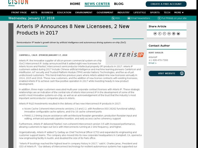 Arteris IP Announces 8 New Licensees, 2 New Products in 2017