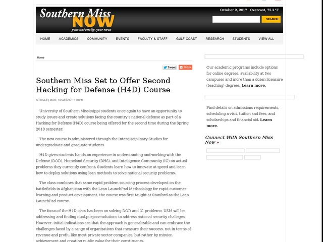 Southern Miss Set to Offer Second Hacking for Defense (H4D) Course