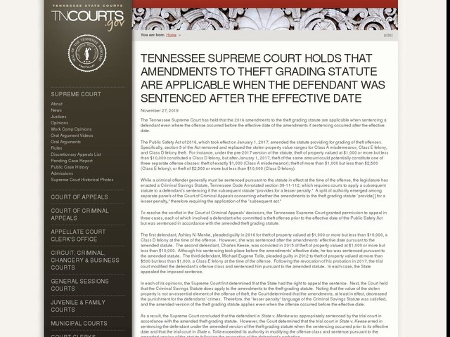 Tennessee Supreme Court Holds That Amendments To Theft Grading Statute Are Applicable When The Defendant Was Sentenced After The Effective Date