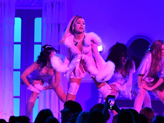 Ariana Grande Turns Stage Into a Slumber Party at Grammy Awards