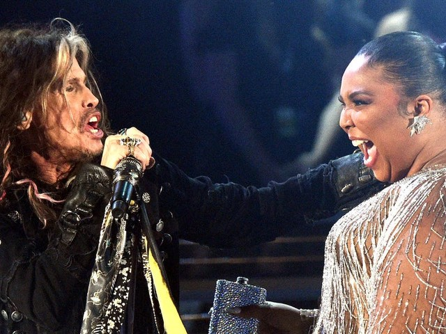 Aerosmith frontman Steven Tyler yelled 'Lizzo I f---ing love you!' in the middle of his Grammys performance, but the moment was bleeped on air