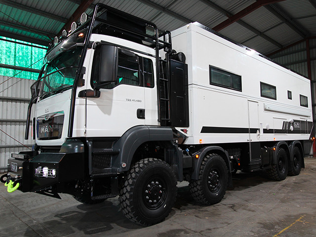 This 2-Story, 8-Wheel-Drive Overlanding Camper RV Is a Sight To Behold