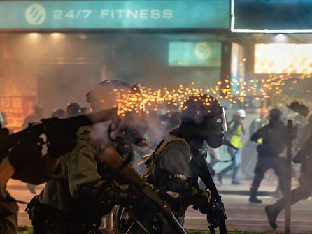 Hong Kong Police Shoot Protesters at Close Range