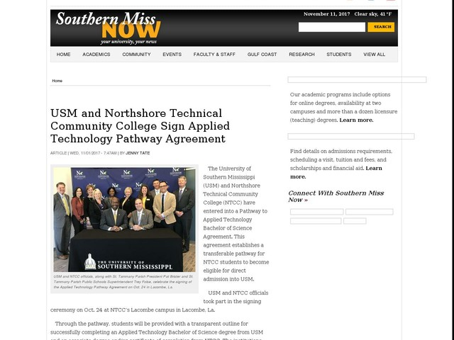 USM and Northshore Technical Community College Sign Applied Technology Pathway Agreement