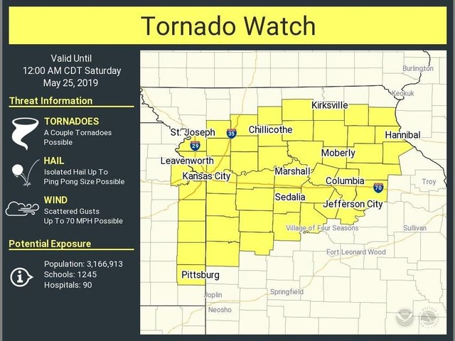 Tornado watch issued for parts of Missouri and Kansas, including Kansas City area