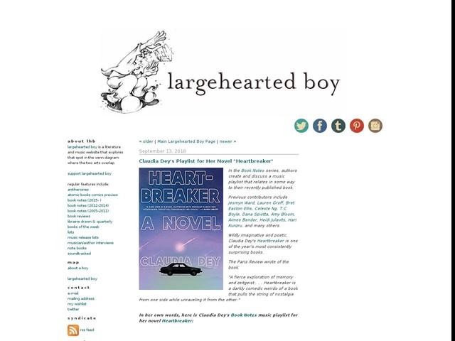"Claudia Dey's Playlist for Her Novel ""Heartbreaker"""
