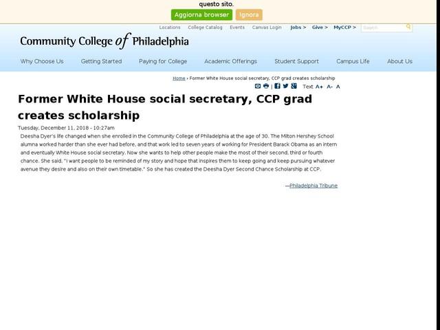 Former White House social secretary, CCP grad creates scholarship