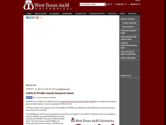 CSAW at WTAMU Awards Research Grants